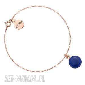 bransoletka z różowego złota z granatową - okrągła