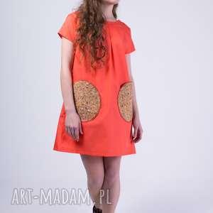 ręcznie robione sukienki skinfish neon melon, bawełniana, melonowa sukienka korek:)