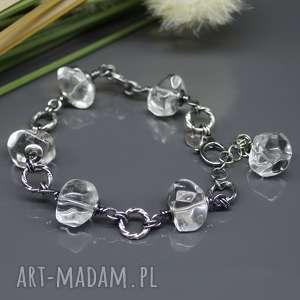 Kryształ górski - srebrna bransoletka Grace , kwarc, kryształ-górski