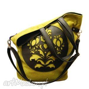 folkowa ropucha, zamsz, plusz, torba, shopper, folk na ramię torebki, oryginalny