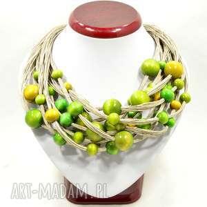 hand made naszyjniki zielony naszyjnik z nici lnianych drewnem