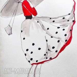 adriana laube art praca akwarelą i piórkiem elegantka artystki plastyka adriany