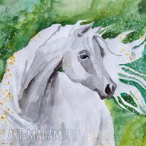 ŁĄKA obraz akwarelami artystki plastyka Adriany Laube, akwarela, koń, zwierzęta