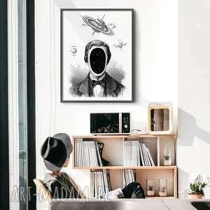plakat człowiek kosmos 50x70 cm b2, człowiek, kosmos, plakat, gwiazdy, planeta