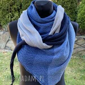 chustki i apaszki chusta ombre bawełniana w odcieniach niebieskiego, duża