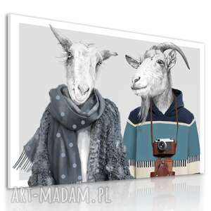nowoczesny obraz na płótnie z kozami - rodzina kozłowskich 120x80cm 02465