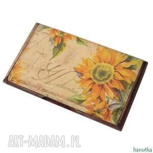 etui słoneczniki - wizytownik, prezent, kobiecy, stylowy, romantyczny