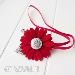 święta upominek Opaska do włosów z kwiatkiem czerwono srebrna, opaska, filc, naświęta