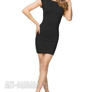 bawełniana sukienka mini z dekoltem na plecach t179, czarny, sukienka, mini, letnia