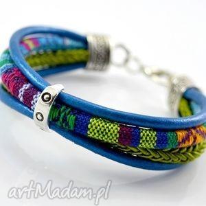 bransoletka boho joyee azteq simple, bransoletka, rzemień, materiał, wzorzysty