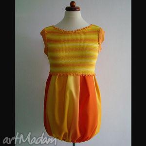 sukienka/tunika cieniowana żółto-pomarańczowa, sukienka, tunika, cieniowana, unikat