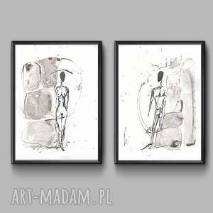 handmade grafika dwie grafiki czarno-białe minimalizm, obraz abstrakcyjny, grafiki 21x30 a4 rysunek tuszem /6-3