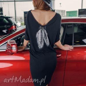 tunika czarna pióro /piuma angelwings, tunika, malowanka, pióro, elegancka, sukienka