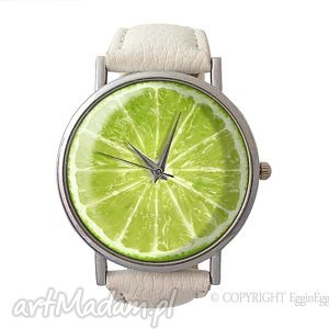 limonka - skórzany zegarek z dużą tarczą - srebrne zegarki
