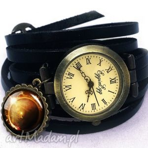 Zaćmienie słońca - zegarek / bransoletka na skórzanym pasku, zegarek,