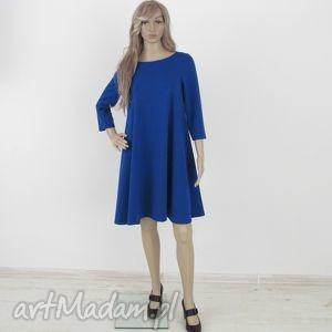 7 - sukienka szafirowa, sukienka, dzianina, rozkloszowana, trapez, mini, elegancka