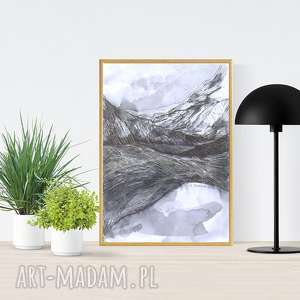 oprawiony biało czarny rysunek z górami, biało-czarny obraz, grafika szkic