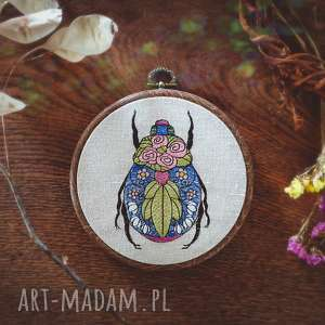 obrazek haftowany chrząszcz, len, haft, tamborek, obrazekhaft