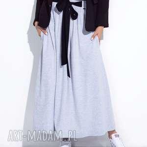 bien fashion szara spódnica do kostek z kokardą l, maxi, bawełniana, trapezowa
