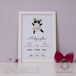 metryczka panda - metryczka, plakat, obrazek, prezent, urodziny, chrzest