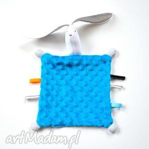 zabawki przytulanka dla niemowląt, szmatka, sensoryczna, metki, zając, królik