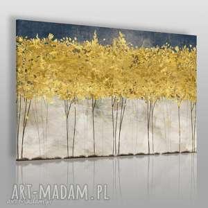 obrazy obraz na płótnie - złote drzewa - 120x80 cm (77101)
