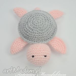 leoś s- szaro - różowa, miś, żółwik, maskotka, pluszak, lalka, zabawki