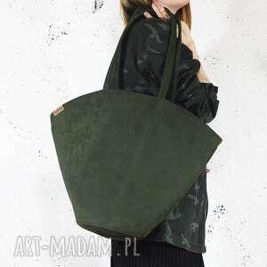 shelly bag ciemnozielona torba z wodoodpornyego nubuku syntetycznego, zielona