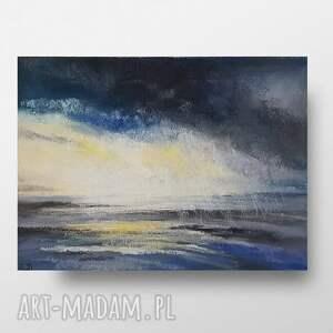 paulina lebida morze w deszczu ii - praca wykonana pastelami, morze, pastele