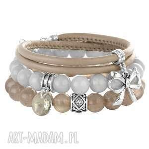 bransoletki warm shades of beige light grey, jadeit, kokardka, rzemień biżuteria