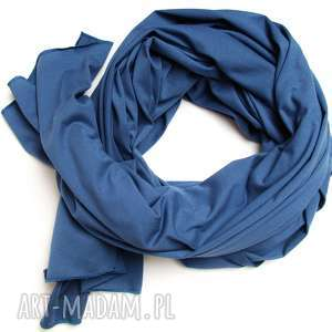 Niebieski szalik szal bawełniany, duży damski chusta, modny na jesień