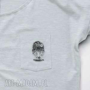 mini SOWA PÓJDŹKA bluzka z kieszonką, dekolt, oversize, owl, długi, rekaw