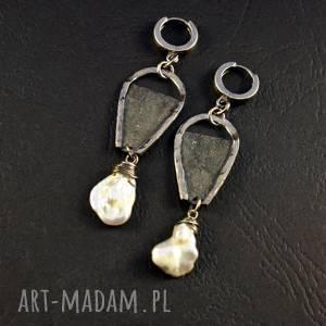 Perła surowa ewasko srebro oksydowane, surowy styl, 925, perła,