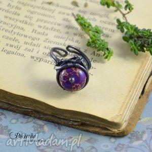 Violet - pierścionek z jaspisem cesarskim, pierścionek, miedź, jaspis, jaspiscesarski