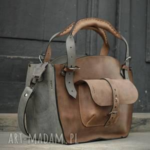 ręcznie zrobione kuferek szary i jasny brąz robiony torba od polskich projektantów