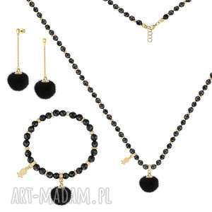 KOMPLET z czarnymi pomponami - I ♥ POM POMS - ,onyks,pompon,minerał,srebro,komplet,
