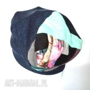 czapka wełniana ciepła etno turban patchwork - wełna, narty, ciepła, etno