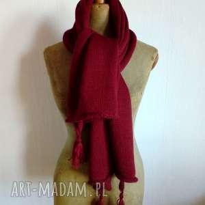 Prezent wełniany szal, szalik, bordowy, wełniany, maszyję, prezent