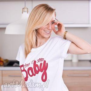 hand made bluzki fajna biała koszulka bluzka z nadrukiem napisem krótki