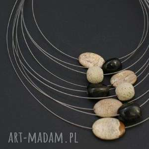naszyjnik kamienie na linkach - naszyjnik, jaspis, kwarc, lawa, kamienie, linki