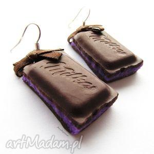 ręcznie robione kolczyki kolczyki czekoladki z jagodowym nadzieniem