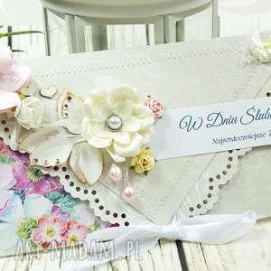 Prezent kopertówka ślubna- delikatność kwiatów, ślub, wesele, kartka, kopertówka,