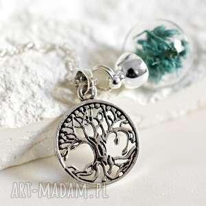 925 srebrny łańcuszek -Celtyckie drzewo życia-, kwiaty, suszone, drewo, życia