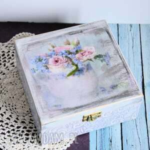 pudełko drewniane - róże z niezapominajkami, pudełko, niezapominajka, róża