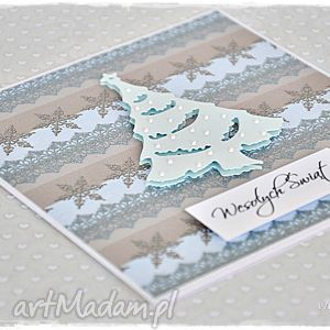 Świąteczna chionka - kartka - kartka, bożenarodzenie, życzenia, choinka