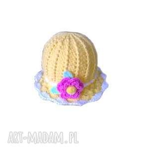 słoneczny kapelusik dla dziewczynki, z włoczki, kapelusz akrylowy