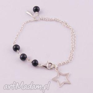 Black star, bransoletka z czarnych pereł - ,czarna,perła,naturalna,bransoletka,srebrna,