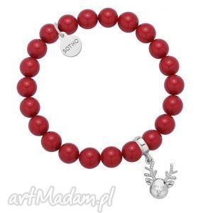 czerwona bransoletka z pereł swarovski crystal ze srebrnym reniferkiem, modna