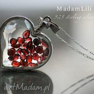 925 srebrny naszyjnik granat, serce, kamienie, szklany, medalion, srebro