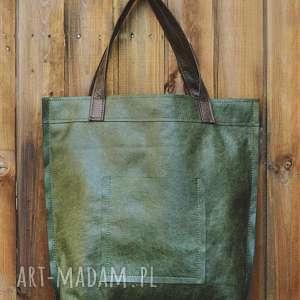 na ramię torba mr m vintage green skóra naturalna, miejska, skóra, duża